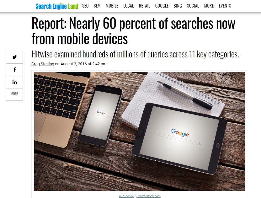 60 percent searches are from mobile