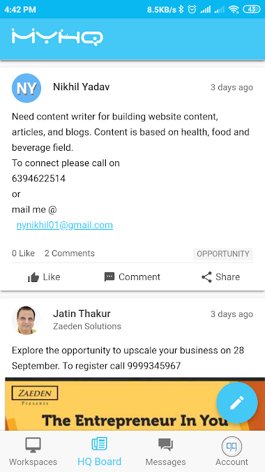 use myhq board comments to get freelance projects