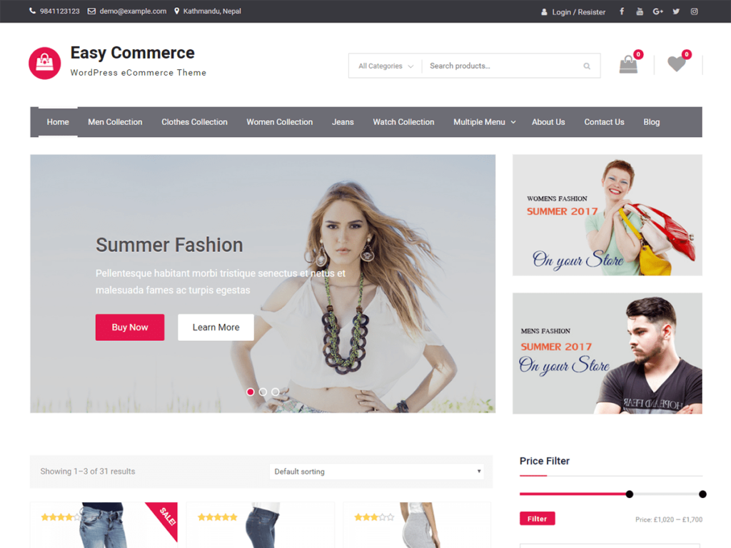 easy commerce wordpress theme