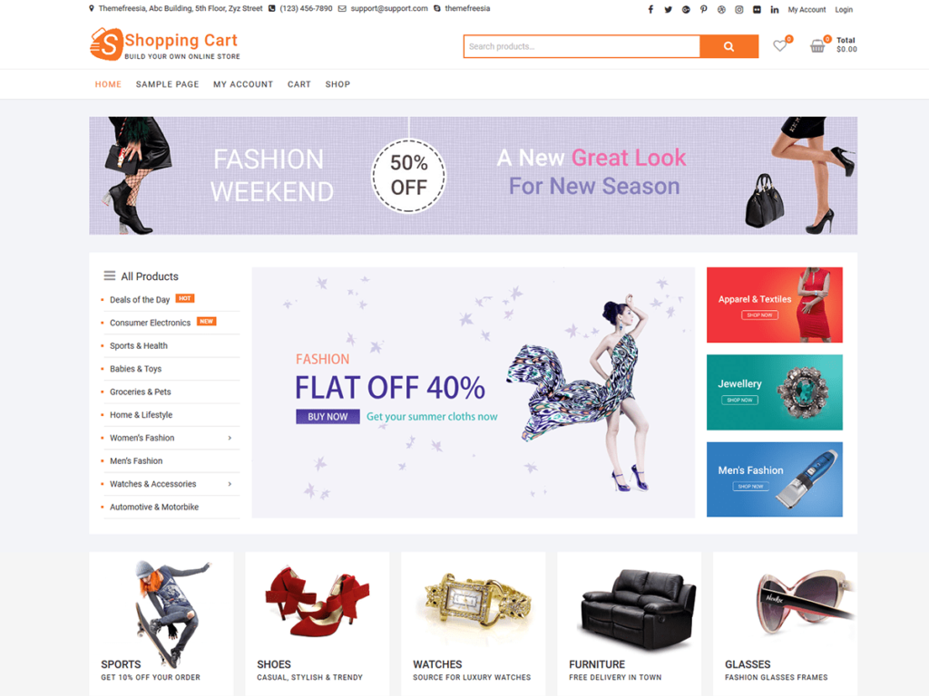 shopping cart woocommerce theme