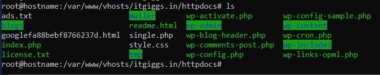 ssh command to show content list